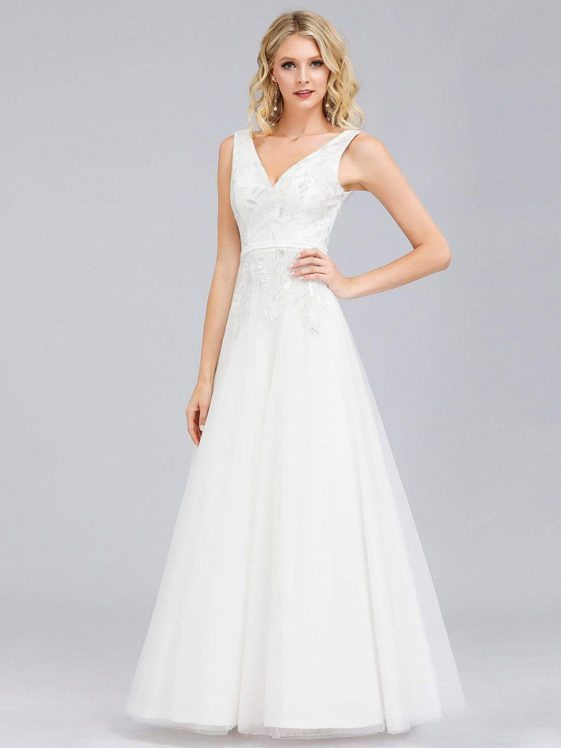 Double V-Neck Embroidered Wedding Dress-Cream 1