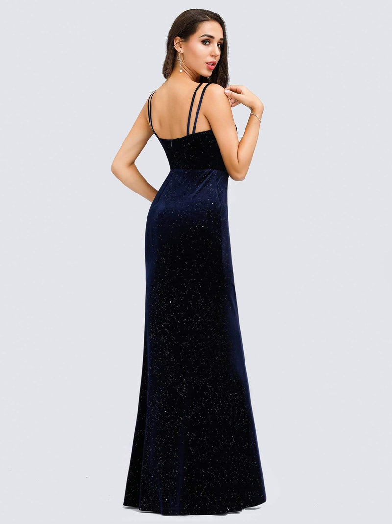 Women'S V-Neck Spaghetti Straps Velvet Dress Evening Dress-Navy Blue 6