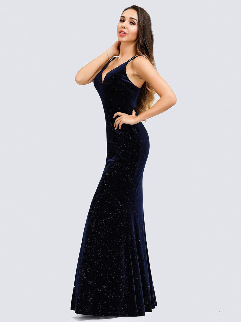 Women'S V-Neck Spaghetti Straps Velvet Dress Evening Dress-Navy Blue 7