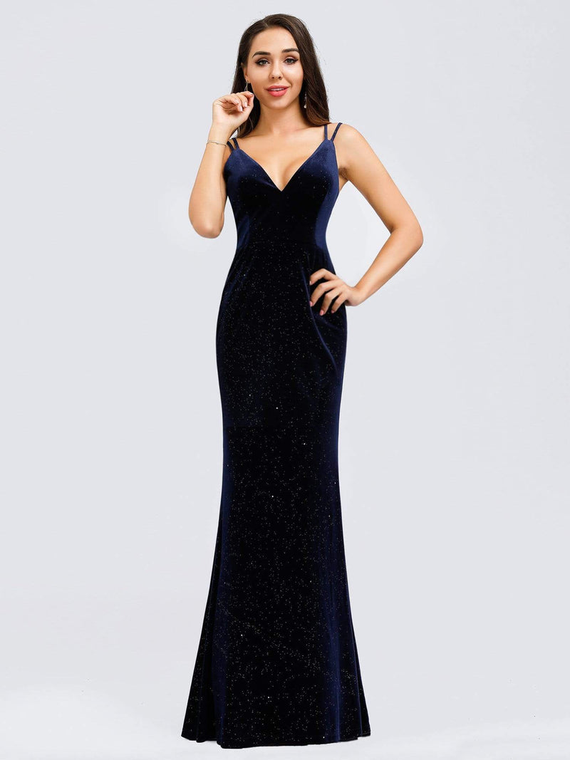 Women'S V-Neck Spaghetti Straps Velvet Dress Evening Dress-Navy Blue 5