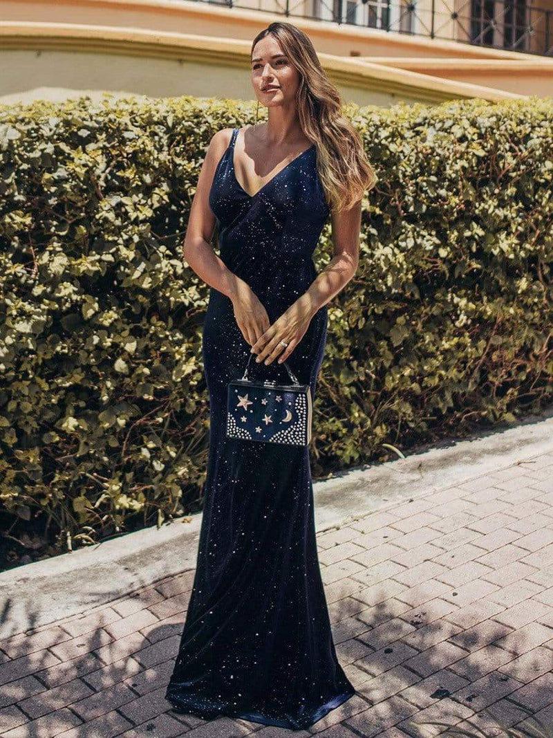 Women'S V-Neck Spaghetti Straps Velvet Dress Evening Dress-Navy Blue 1