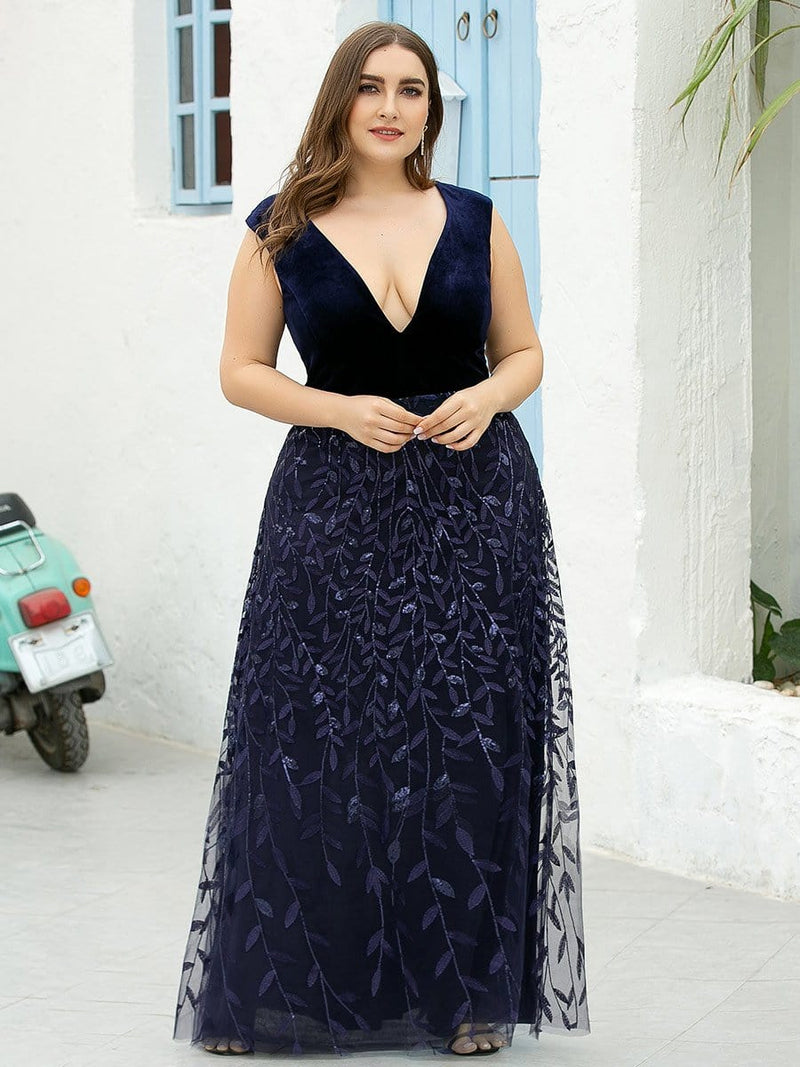 Plus Size Double V Neck Embroidery Prom Dress-Navy Blue 1