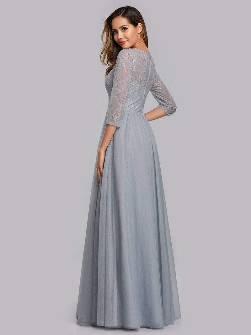 Women'S A-Line 3/4 Sleeve Floral Lace Floor Length Party Dresses-Grey 2