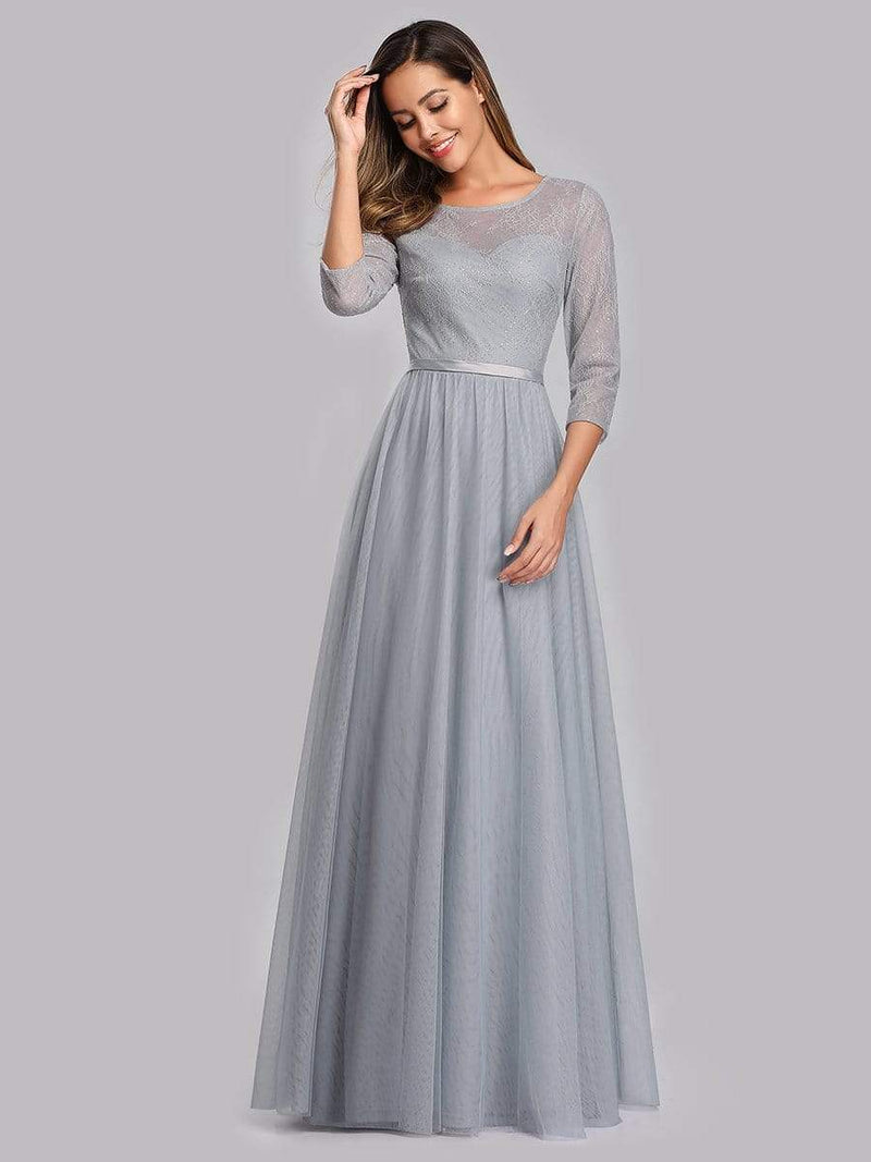 Women'S A-Line 3/4 Sleeve Floral Lace Floor Length Party Dresses-Grey 4