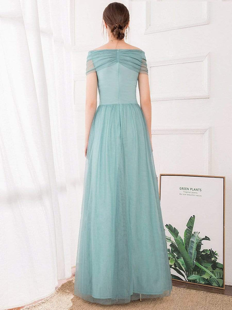 Women'S Fashion A-Line Off The Shoulder Sequin Evening Maxi Dress-Dusty Blue 2