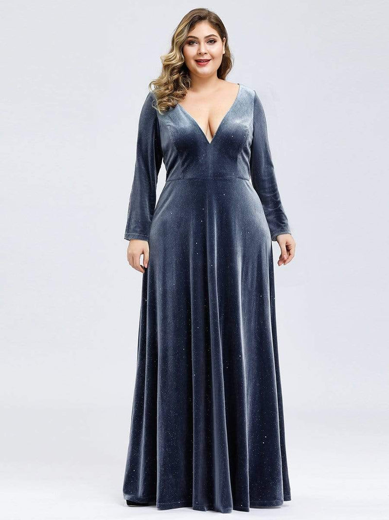 Women'S V-Neck Velvet Floor Length Evening Dress-Dusty Navy 3