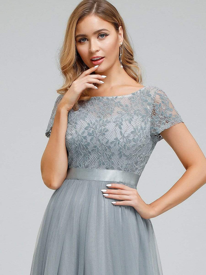 Women'S A-Line Floral Lace Wedding Party Bridesmaid Dress-Grey 5