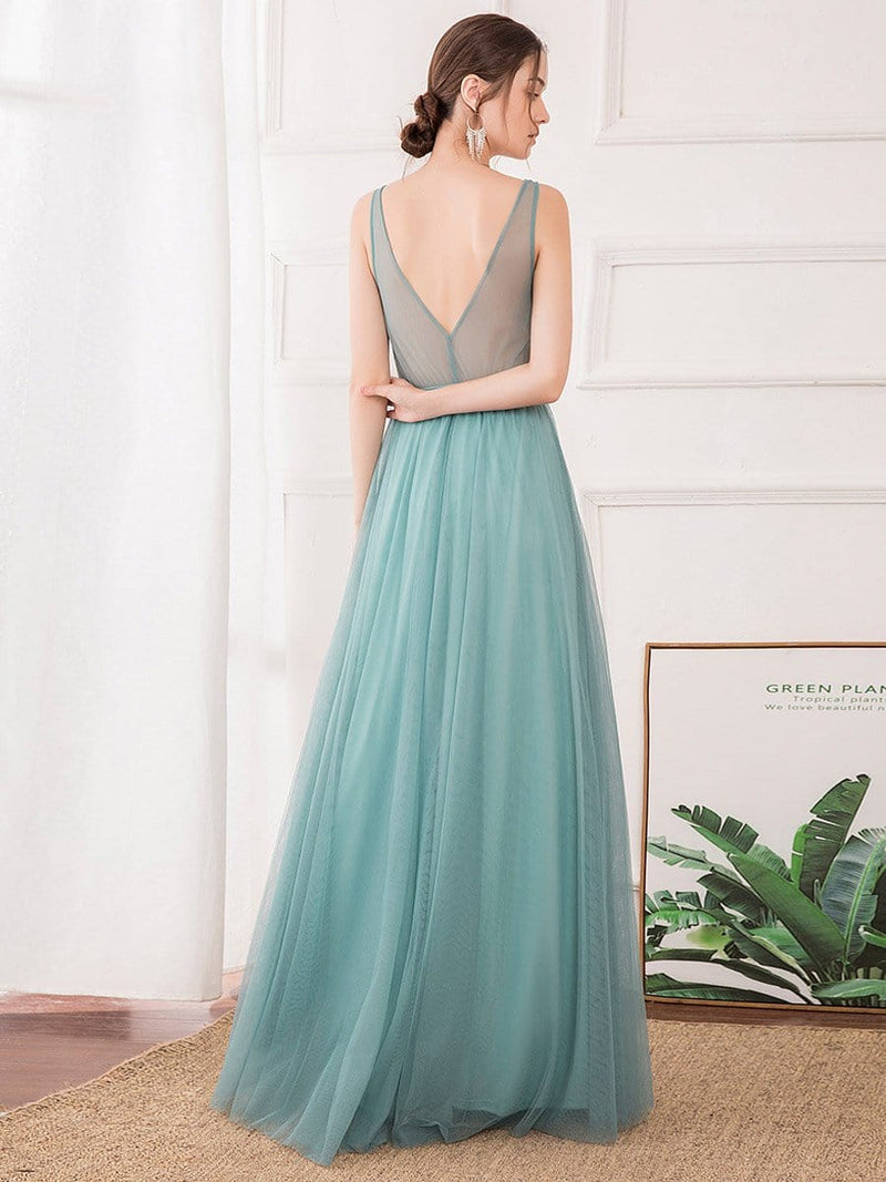 Women'S Sexy V-Neck Floor Length Evening Dress-Dusty Blue 2