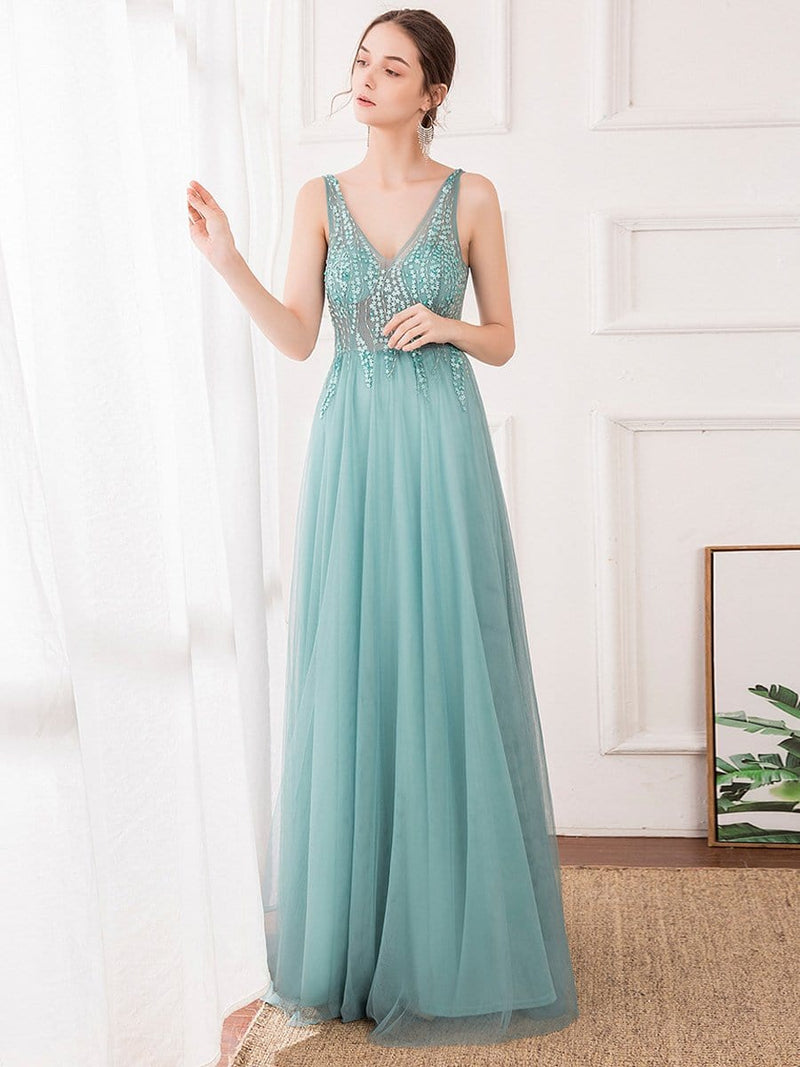 Women'S Sexy V-Neck Floor Length Evening Dress-Dusty Blue 3