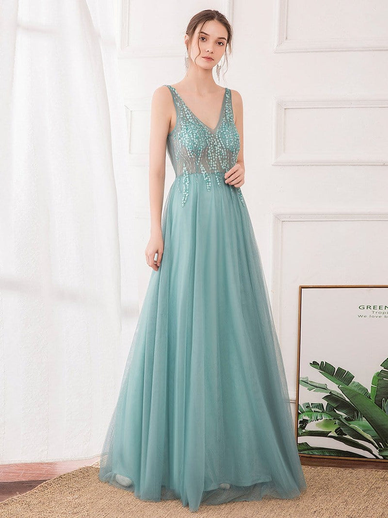 Women'S Sexy V-Neck Floor Length Evening Dress-Dusty Blue 4