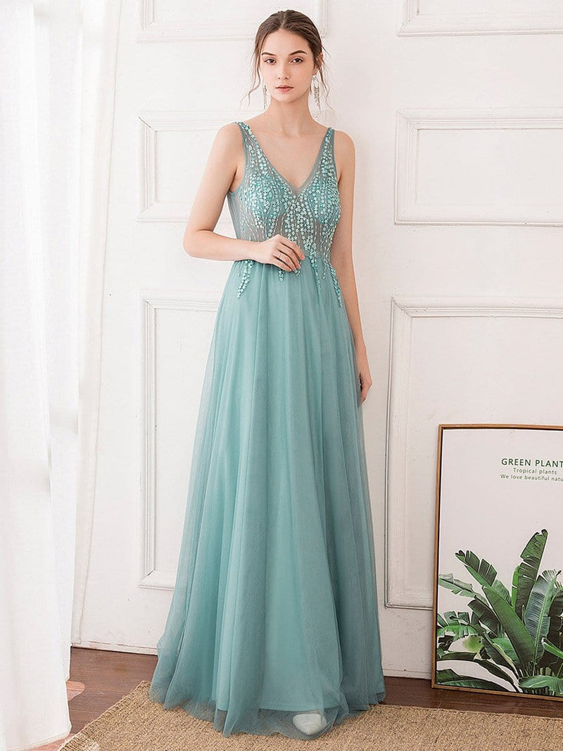 Women'S Sexy V-Neck Floor Length Evening Dress-Dusty Blue 1