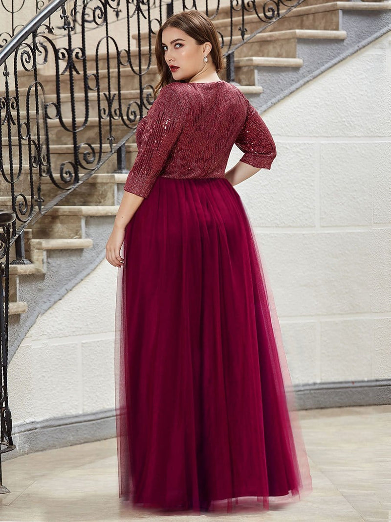 Plus Size Women'S Fashion V-Neck Floor Length Evening Dress-Burgundy 2