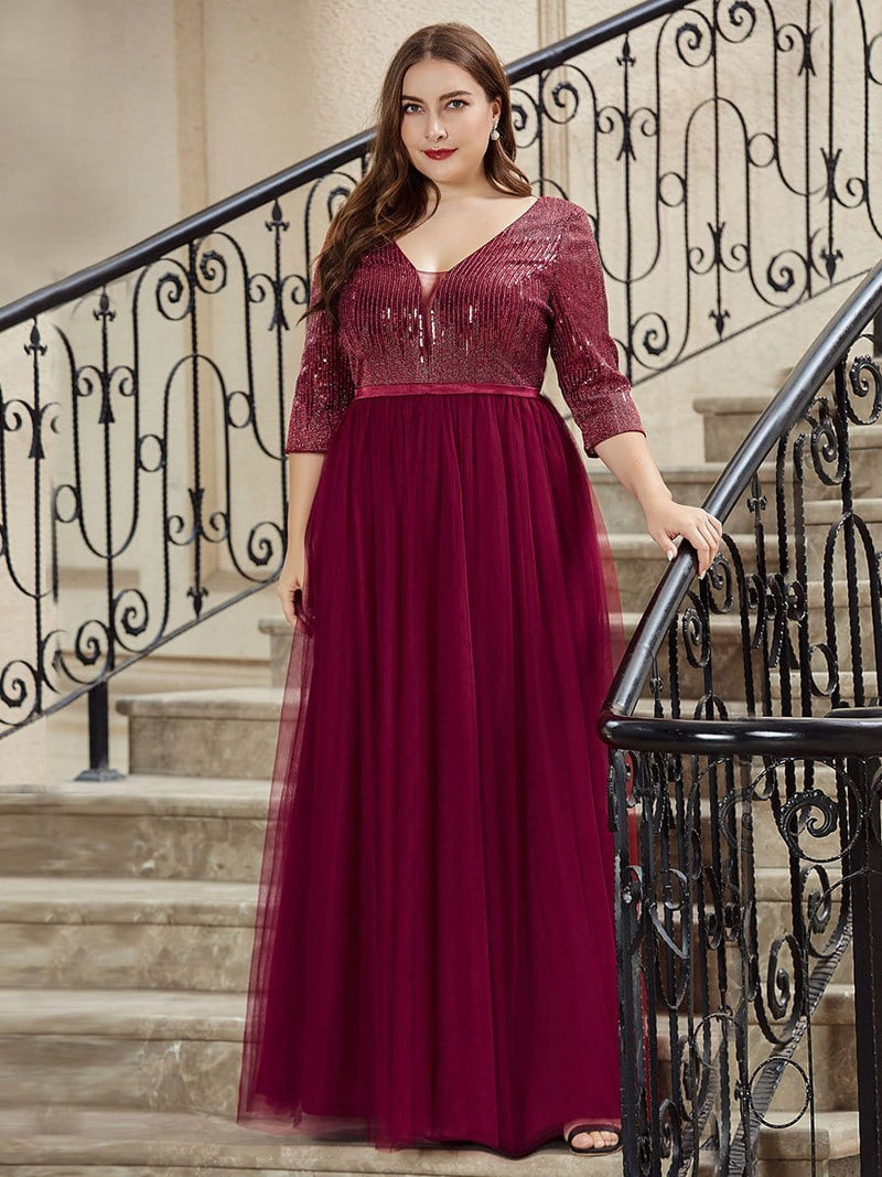 Women'S Fashion V-Neck Floor Length Evening Dress-Burgundy 8