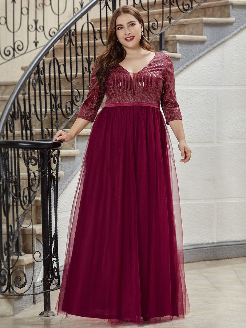 Women'S Fashion V-Neck Floor Length Evening Dress-Burgundy 9