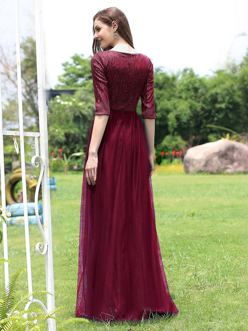Women'S Fashion V-Neck Floor Length Evening Dress-Burgundy 2