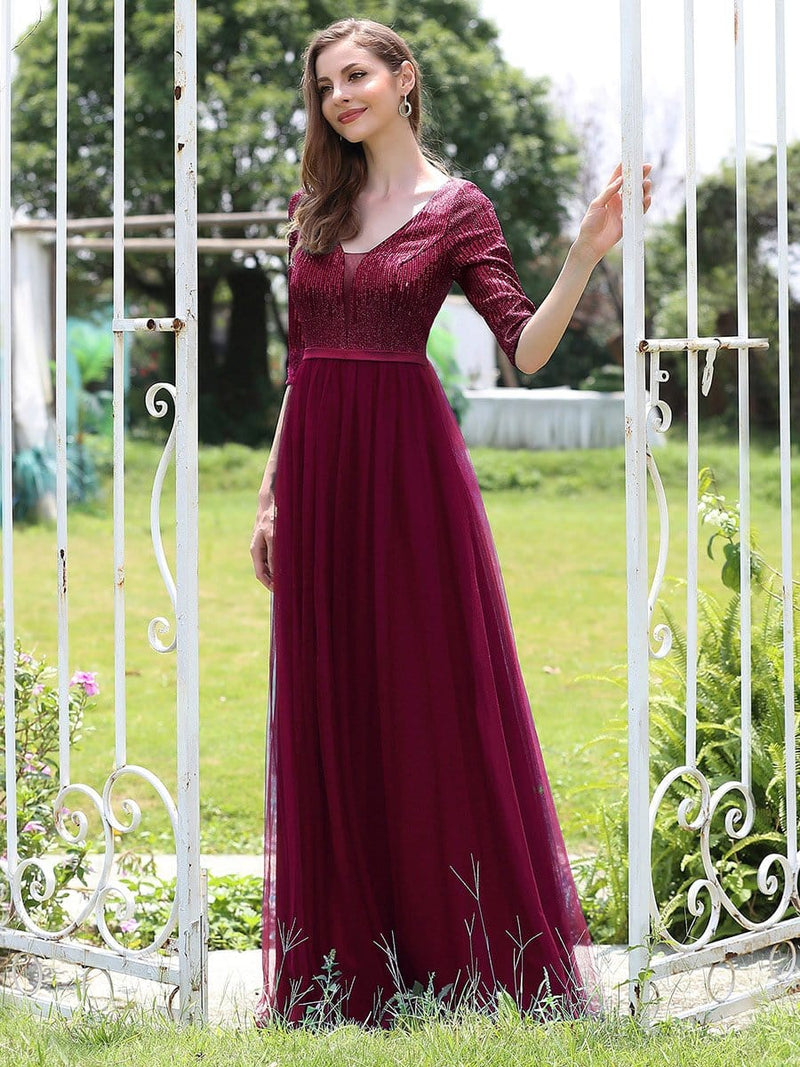 Women'S Fashion V-Neck Floor Length Evening Dress-Burgundy 3