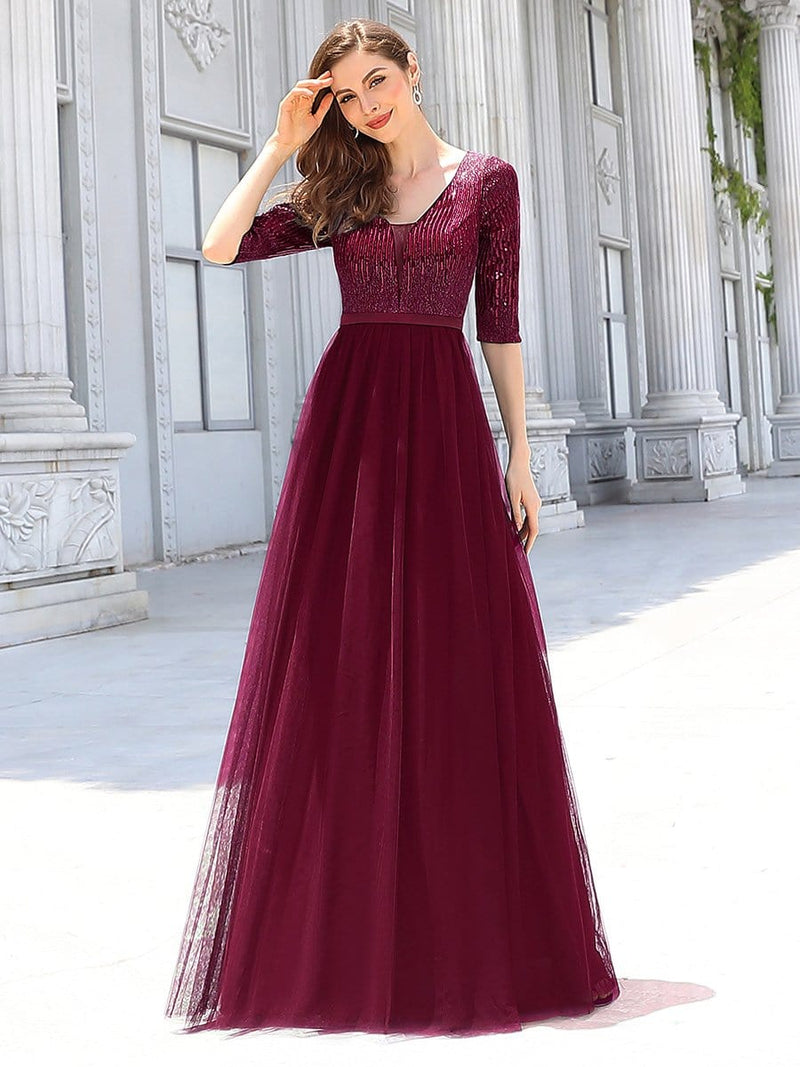 Women'S Fashion V-Neck Floor Length Evening Dress-Burgundy 4