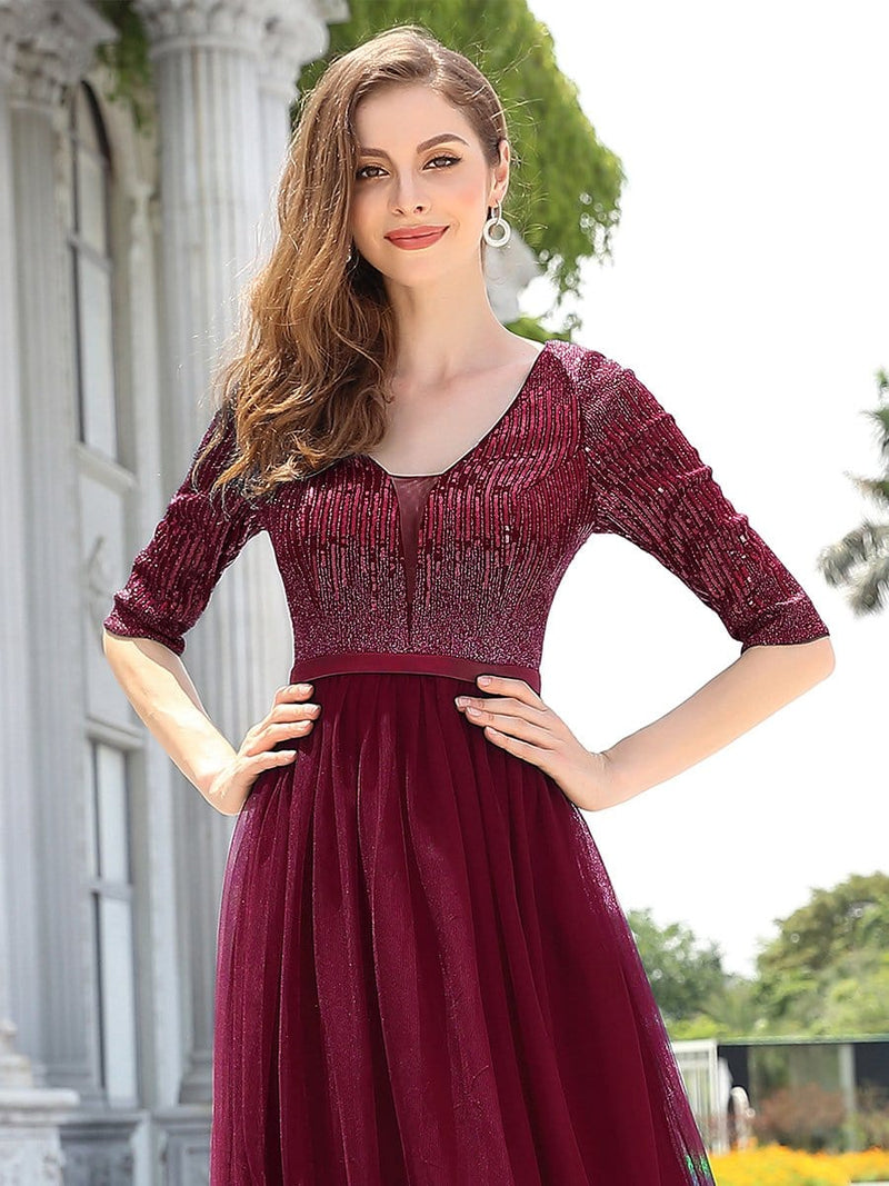 Women'S Fashion V-Neck Floor Length Evening Dress-Burgundy 5
