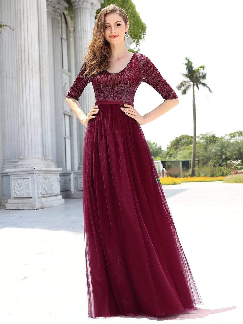 Women'S Fashion V-Neck Floor Length Evening Dress-Burgundy 1
