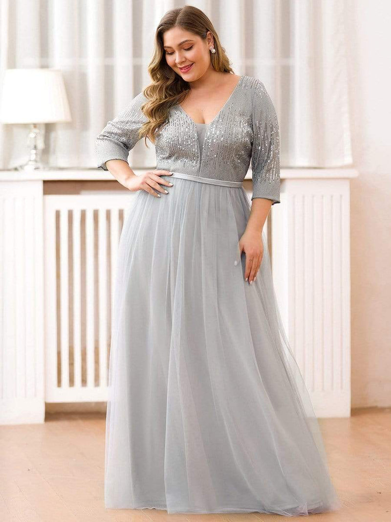 Plus Size Women'S Fashion V-Neck Floor Length Evening Dress-Grey 3