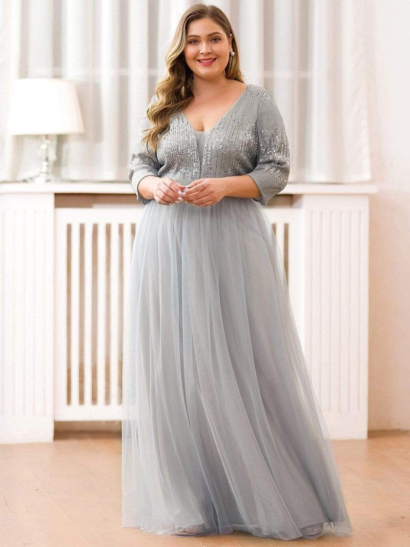 Plus Size Women'S Fashion V-Neck Floor Length Evening Dress-Grey 4