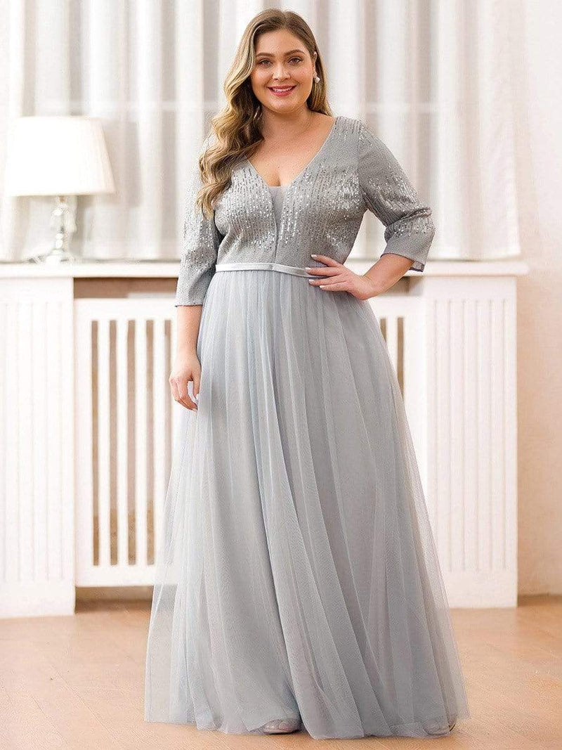 Women'S Fashion V-Neck Floor Length Evening Dress-Grey 10