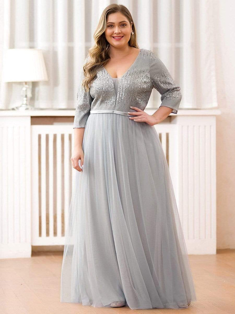 Plus Size Women'S Fashion V-Neck Floor Length Evening Dress-Grey 1