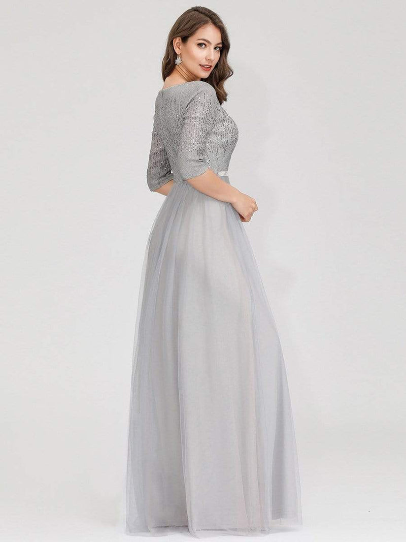 Women'S Fashion V-Neck Floor Length Evening Dress-Grey 6