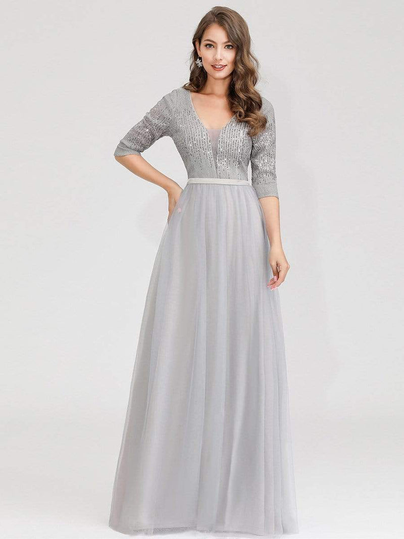 Women'S Fashion V-Neck Floor Length Evening Dress-Grey 5
