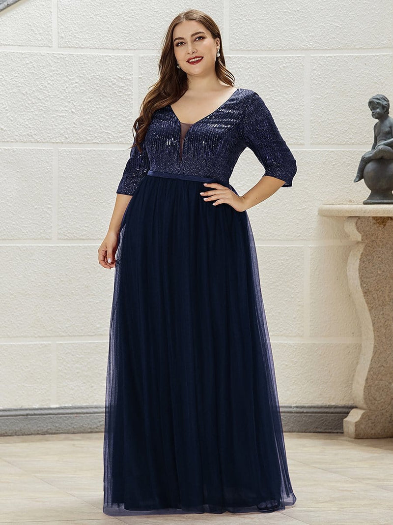 Women'S Fashion V-Neck Floor Length Evening Dress-Navy Blue 9
