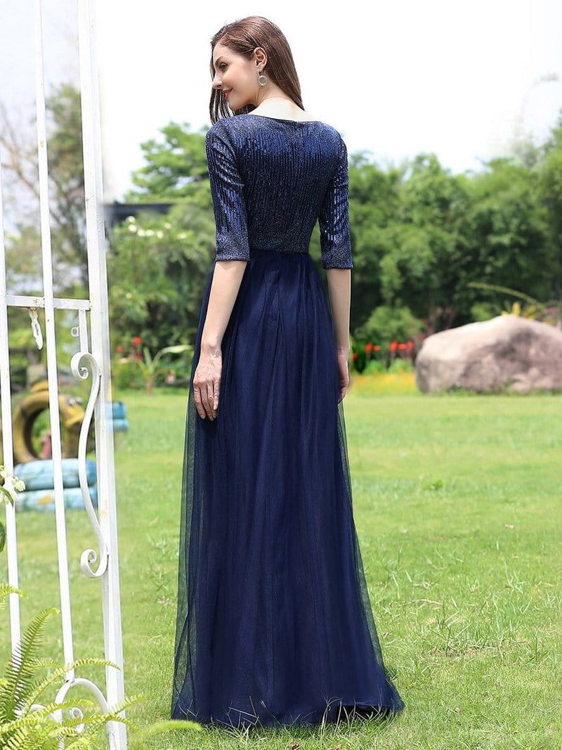 Women'S Fashion V-Neck Floor Length Evening Dress-Navy Blue 2