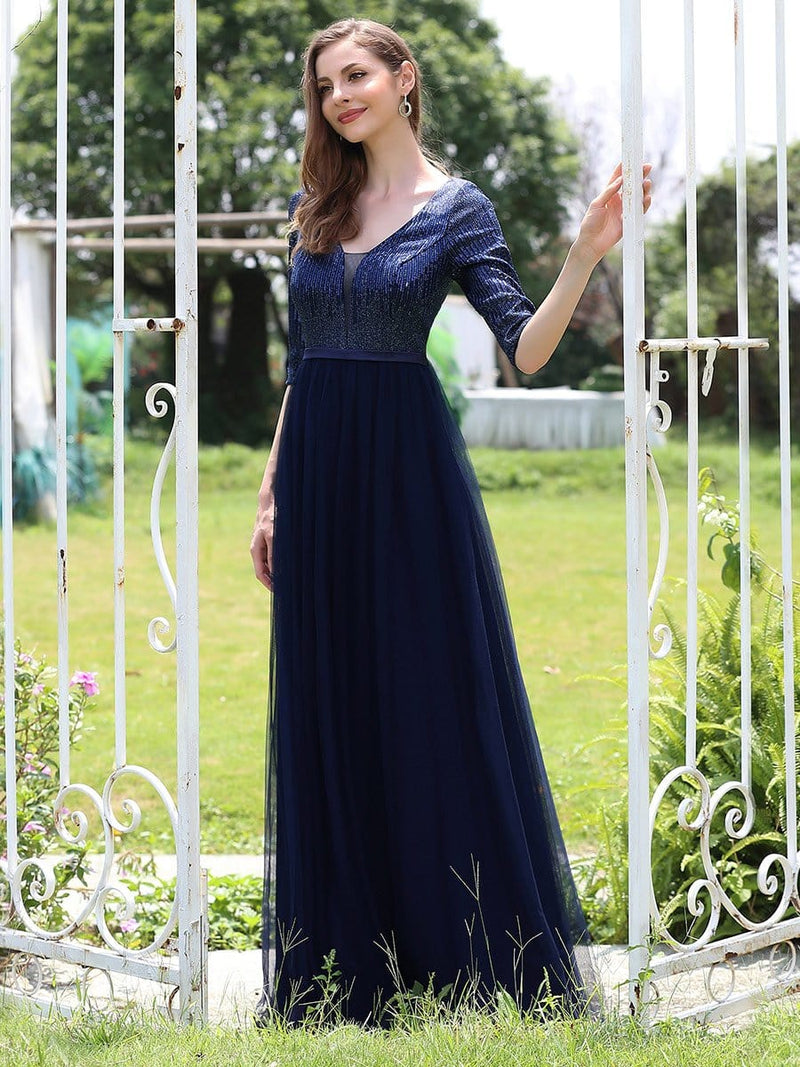 Women'S Fashion V-Neck Floor Length Evening Dress-Navy Blue 3