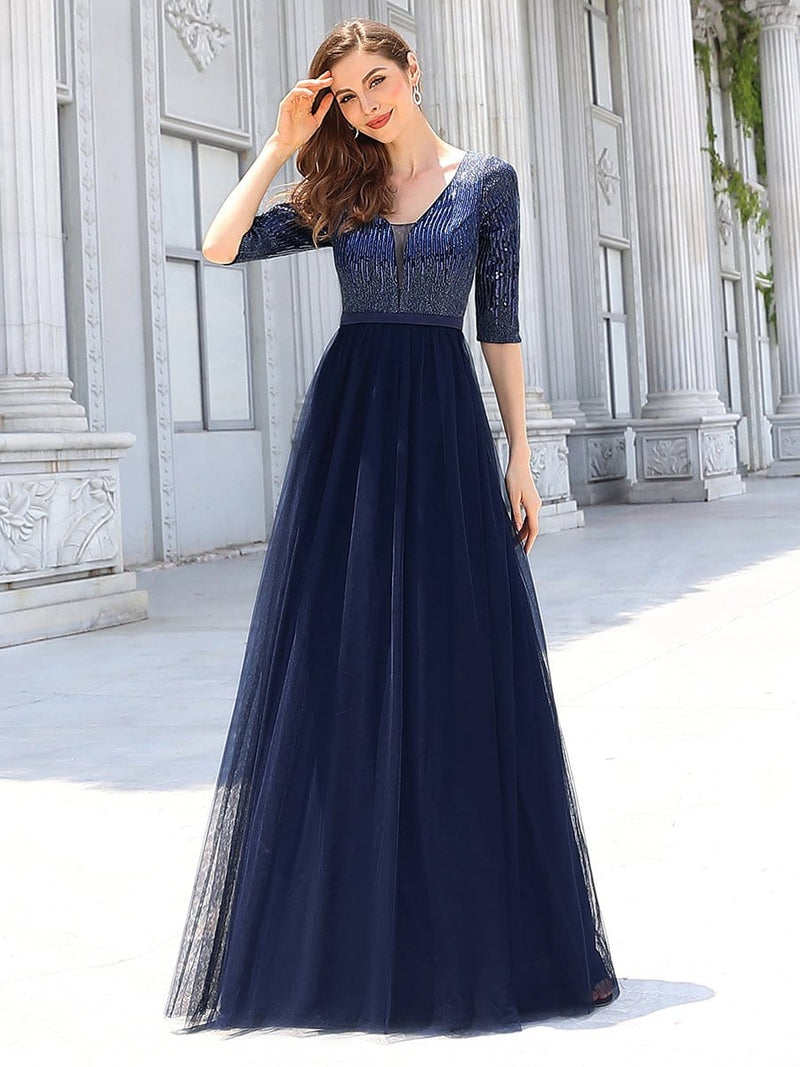 Women'S Fashion V-Neck Floor Length Evening Dress-Navy Blue 4
