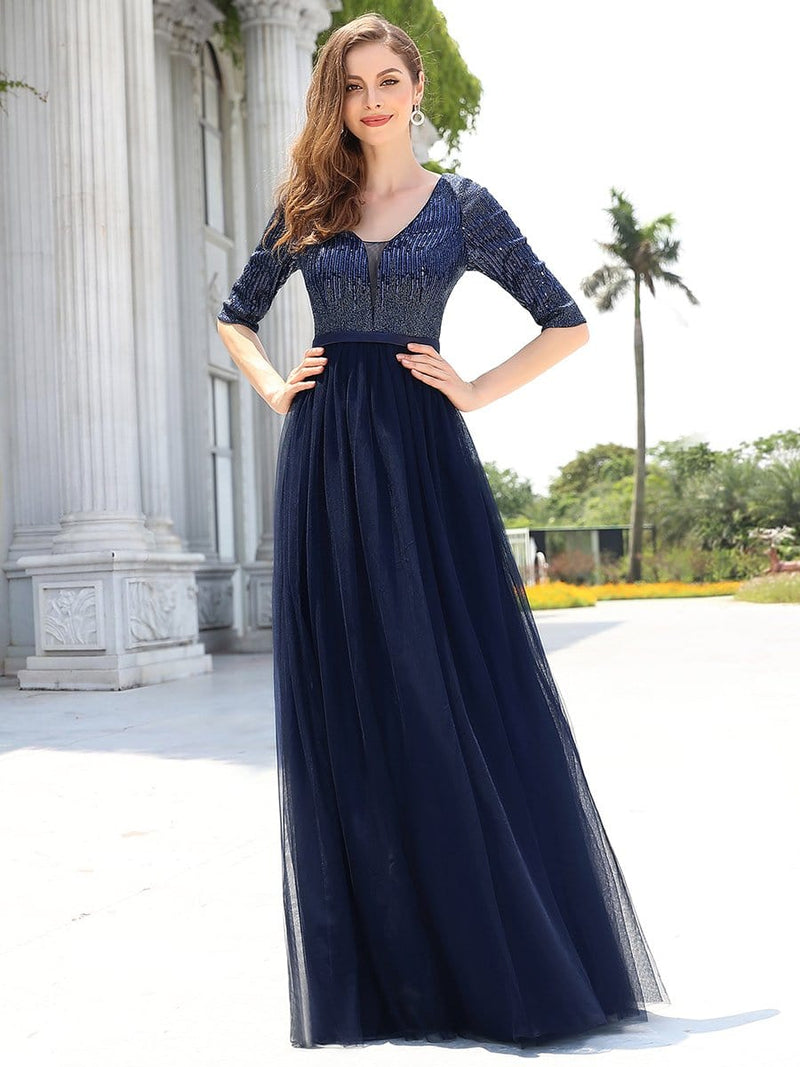 Women'S Fashion V-Neck Floor Length Evening Dress-Navy Blue 1