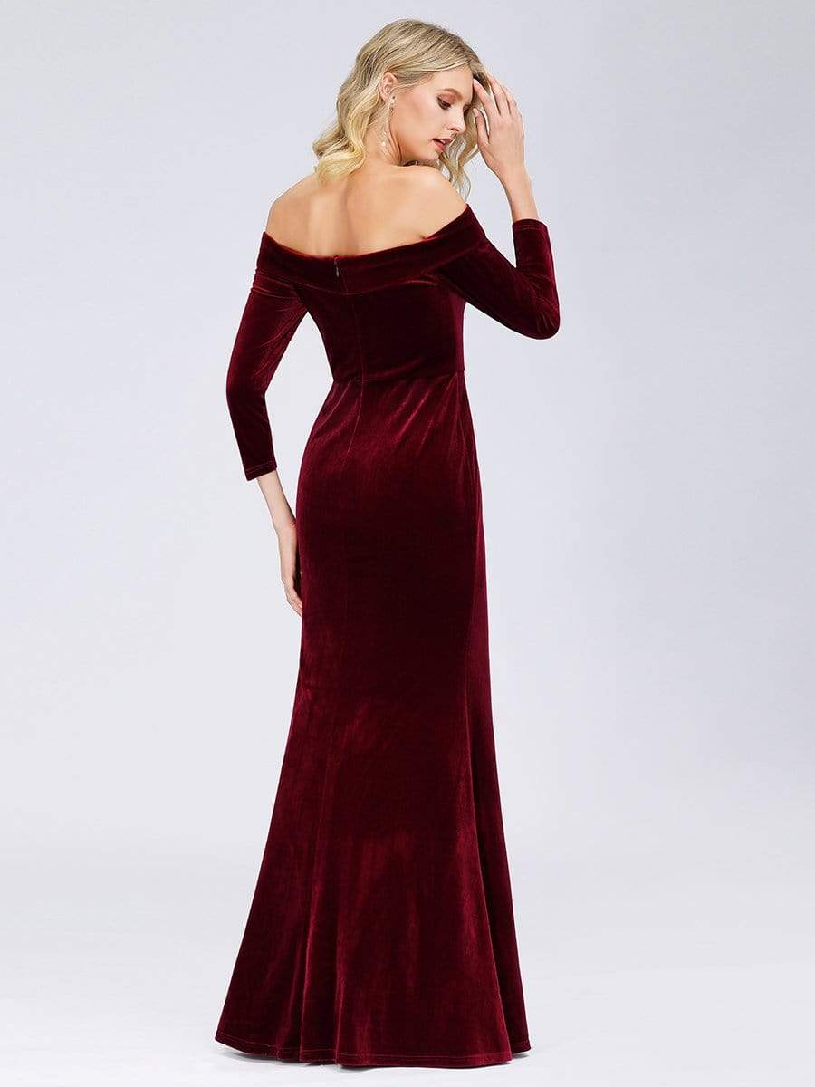 Evening Maxi Dress Off The Shoulder Velvet Long Sleeve Bodycon Ever Pretty Us