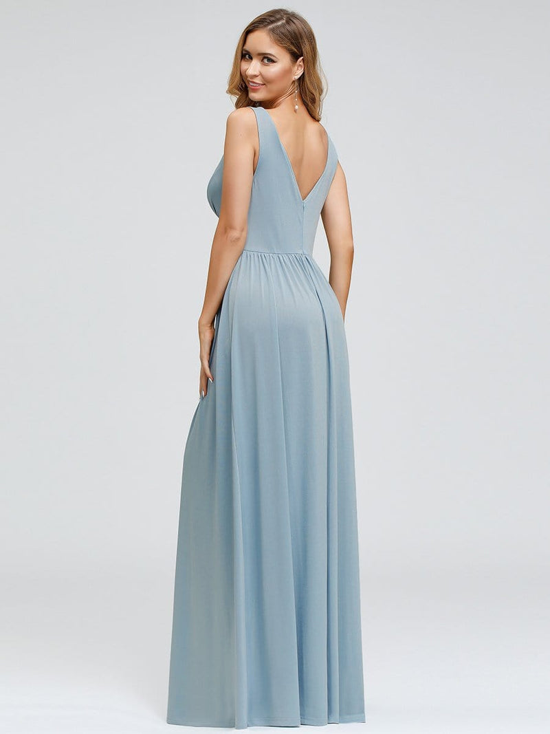 Women'S Double V-Neck Empire Waist Side Split Evening Dresses-Sky Blue 2