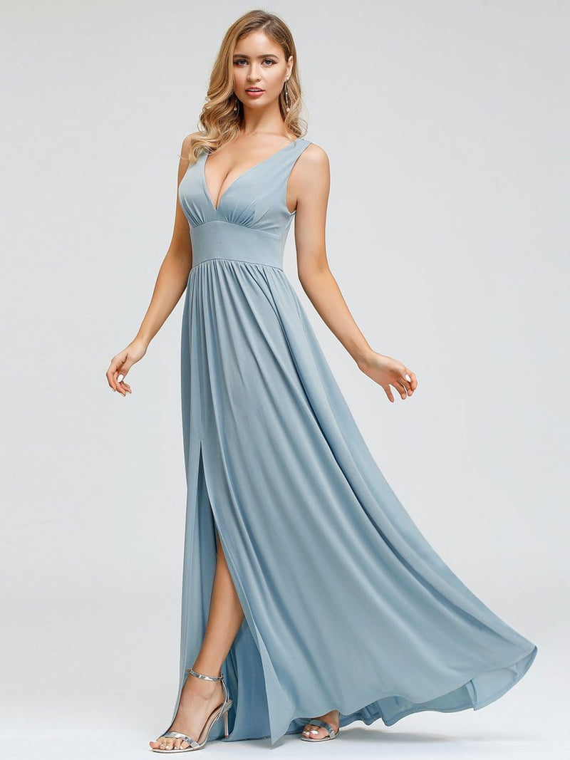 Women'S Double V-Neck Empire Waist Side Split Evening Dresses-Sky Blue 4