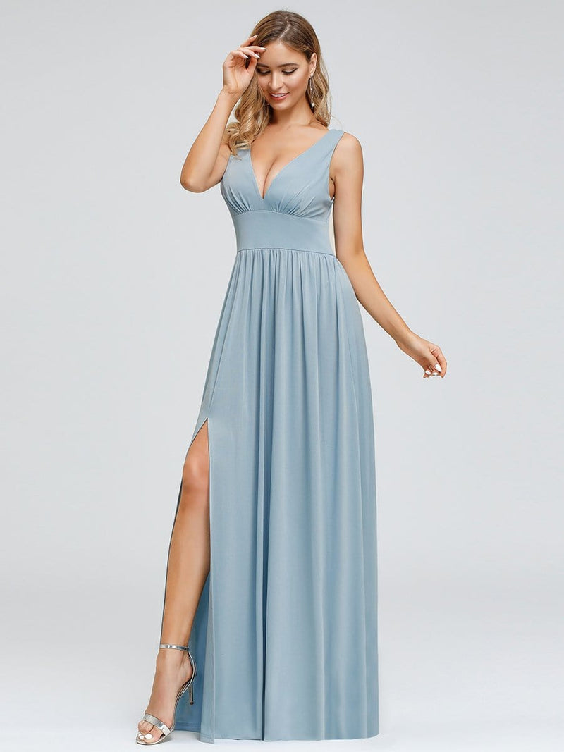 Women'S Double V-Neck Empire Waist Side Split Evening Dresses-Sky Blue 1