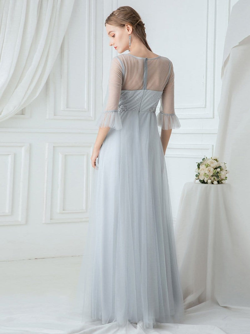 Women'S Elegant Floor Length Tulle Bridesmaid Dress-Grey 2