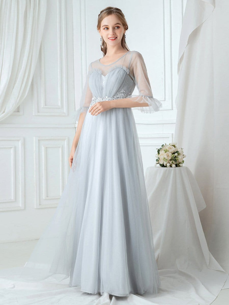 Women'S Elegant Floor Length Tulle Bridesmaid Dress-Grey 3