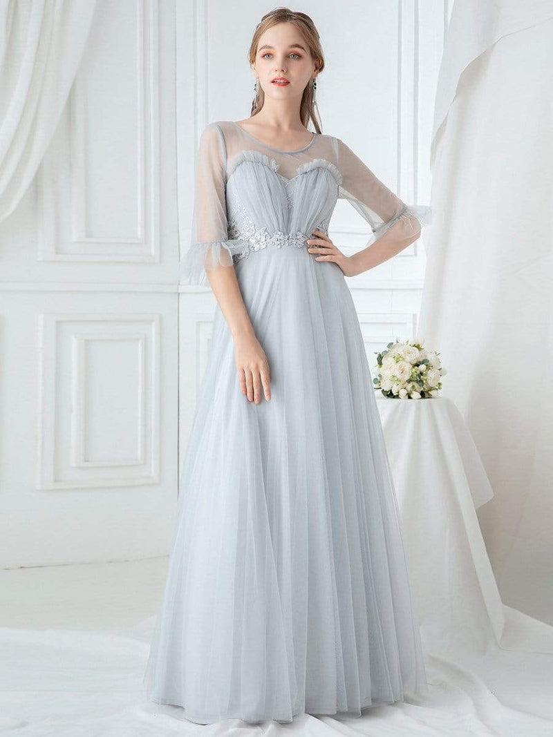 Women'S Elegant Floor Length Tulle Bridesmaid Dress-Grey 4