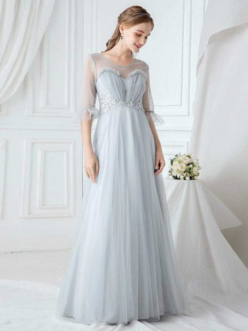Women'S Elegant Floor Length Tulle Bridesmaid Dress-Grey 1