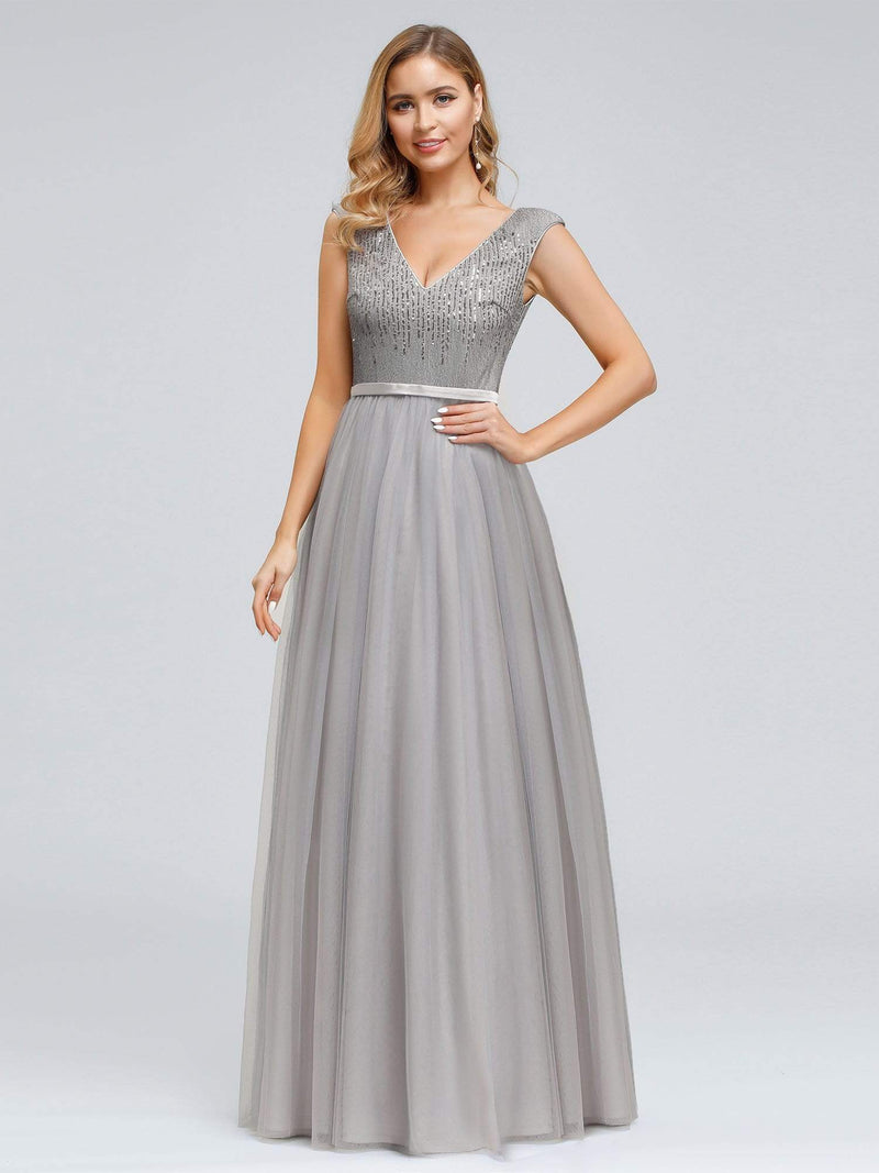 Women'S Elegant V-Neck Sequin Dress Evening Gowns-Grey 1