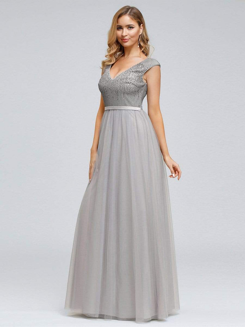 Women'S Elegant V-Neck Sequin Dress Evening Gowns-Grey 4