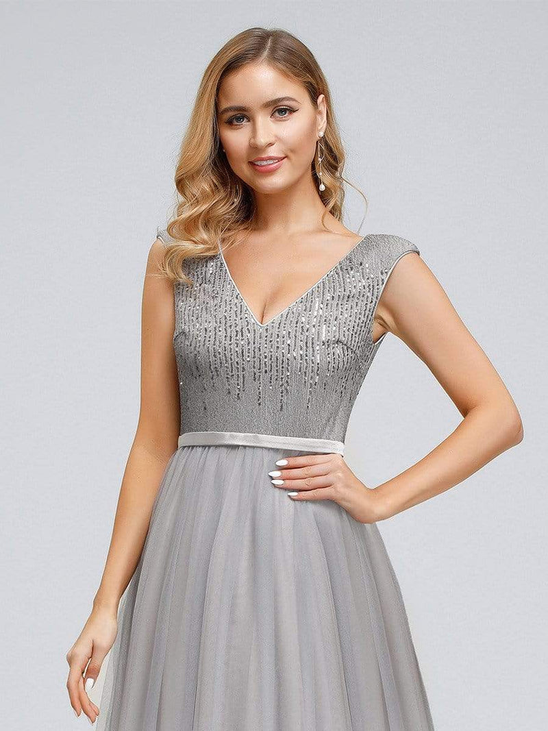 Women'S Elegant V-Neck Sequin Dress Evening Gowns-Grey 5