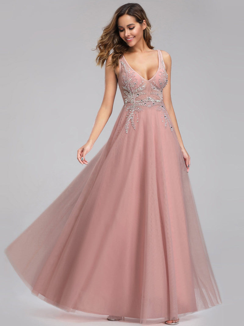 Women'S V-Neck See-Through Beaded Evening Dress-Pink 4