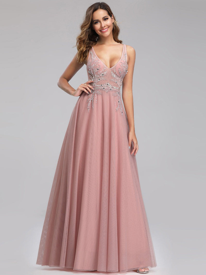 Women'S V-Neck See-Through Beaded Evening Dress-Pink 5