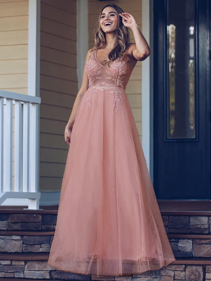 Women'S V-Neck See-Through Beaded Evening Dress-Pink 1