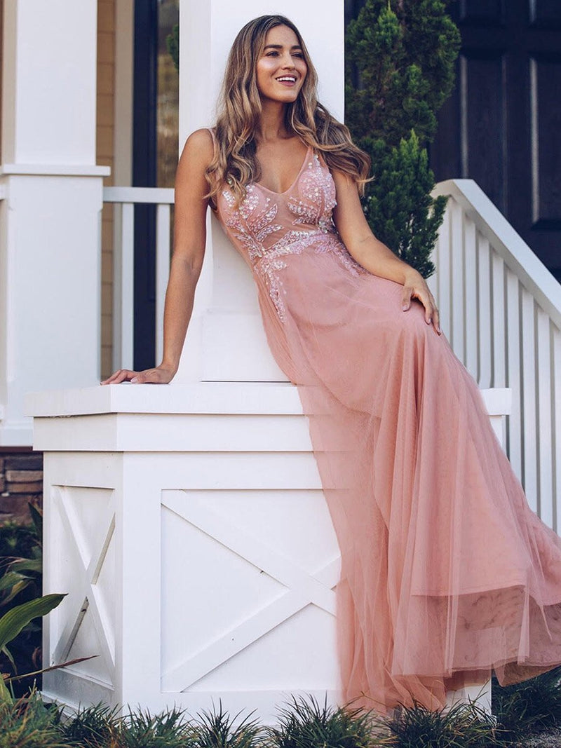 Women'S V-Neck See-Through Beaded Evening Dress-Pink 2