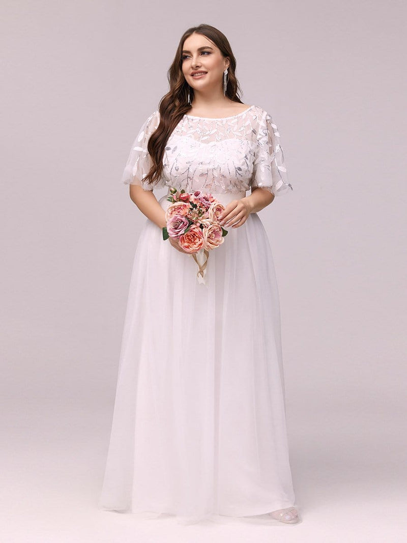 Women'S A-Line Short Sleeve Embroidery Floor Length Evening Dresses-White 2